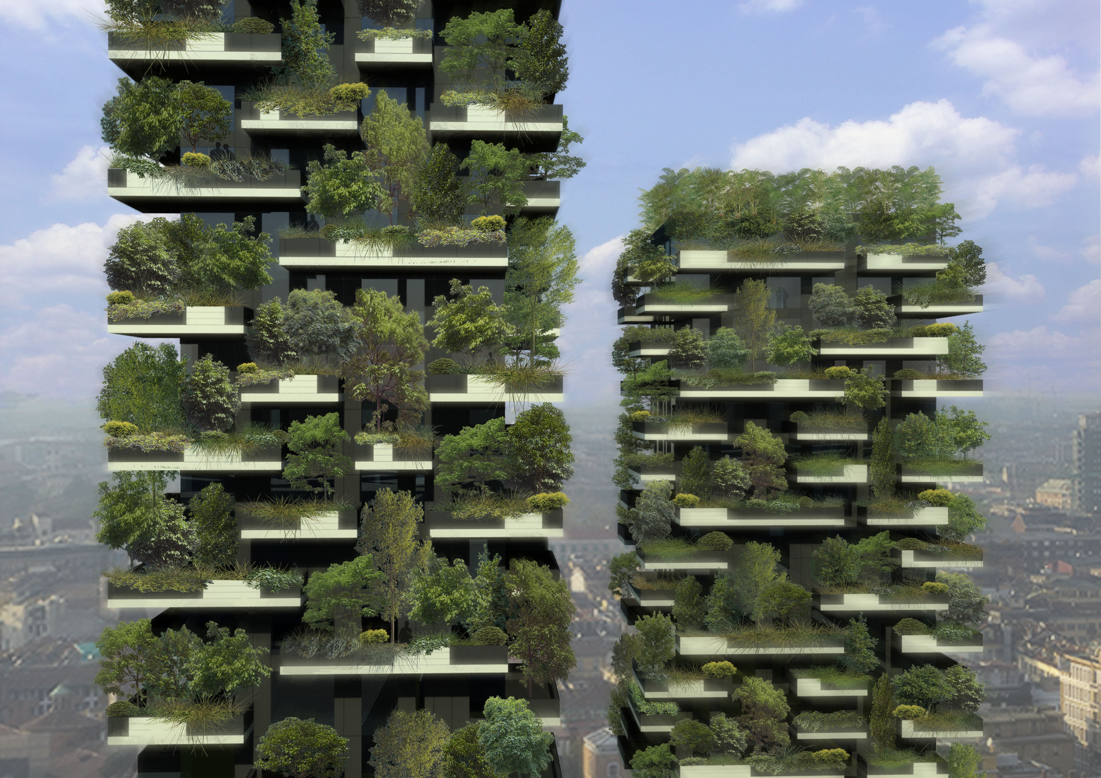 A vertical forest is developing on two skyscrapers in Milan, IT