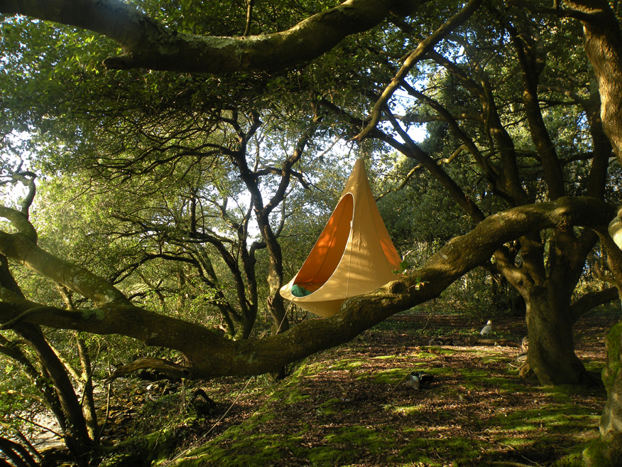 The hanging nests from Hang-in-out, inspired by the weaver bird